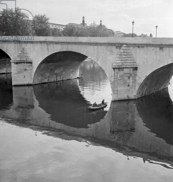 Row Boat Under Bridge, 1946 (b/w photo)