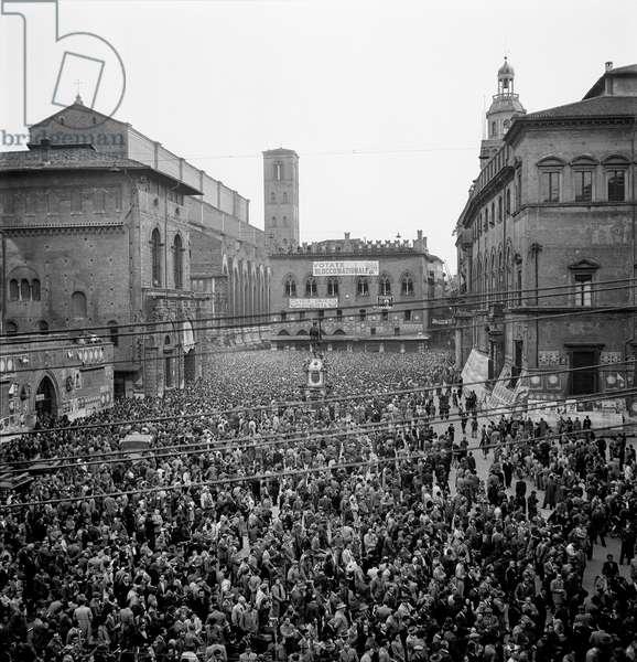 Socialist Rally, Bologna, 1948 (b/w photo)