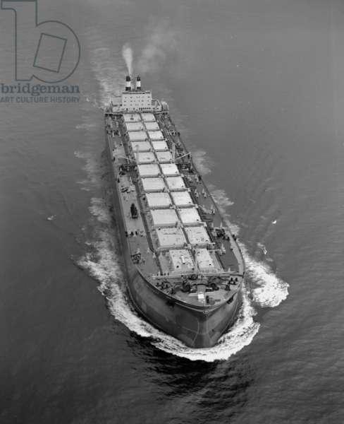 'Naess Crusader' on sea trials, UK, 1973 (b/w photo)