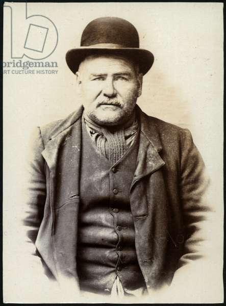 Luke Swailes, general dealer, arrested for receiving stolen goods, North Shields, UK, 1906 (b/w photo)