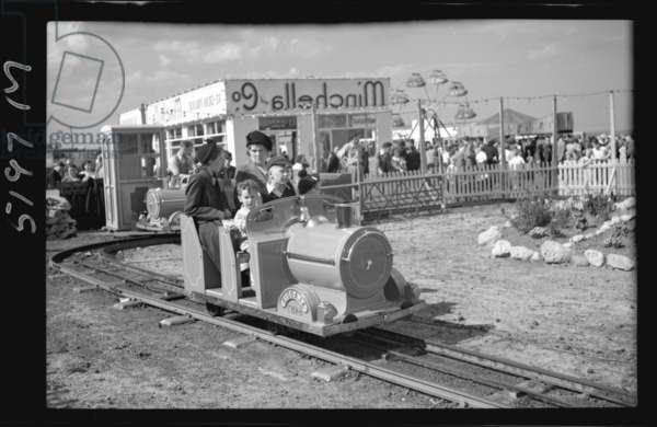 Miniature railway at the Amusement Park, South Shields, UK, August 1950 (b/w photo)