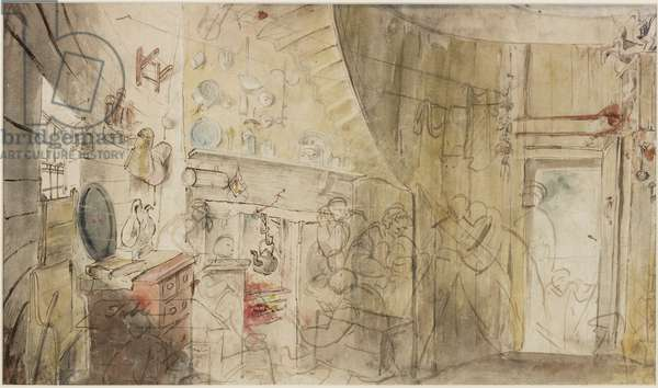 Interior of a Lighthouse, Farne Islands (pencil and watercolour on paper)