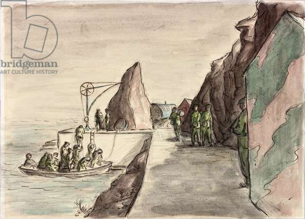 On a Fortified Island - Arrival of a Duty Boat (ink, pencil & w/c on paper)
