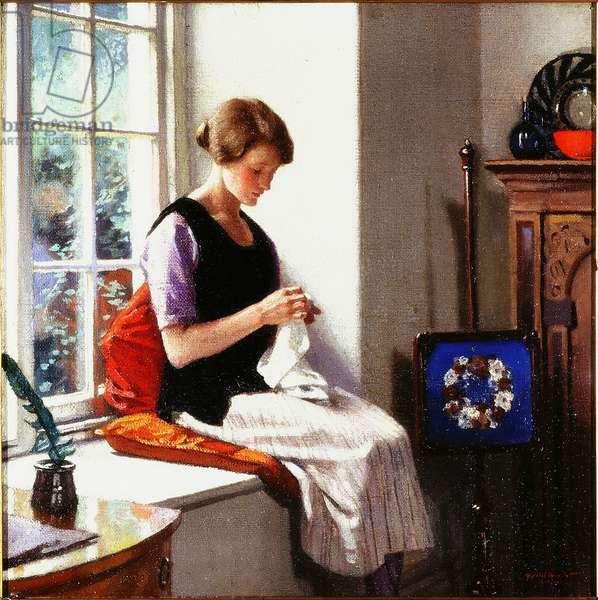 The Seamstress, 1920 (oil on canvas)