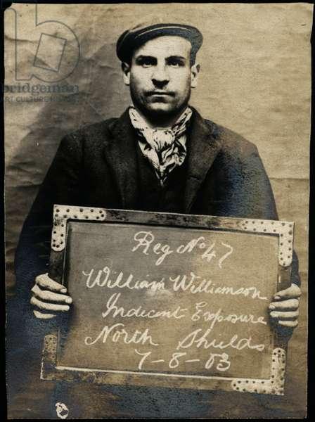 William Williamson, arrested for indecent exposure, North Shields, UK, 1903 (b/w photo)