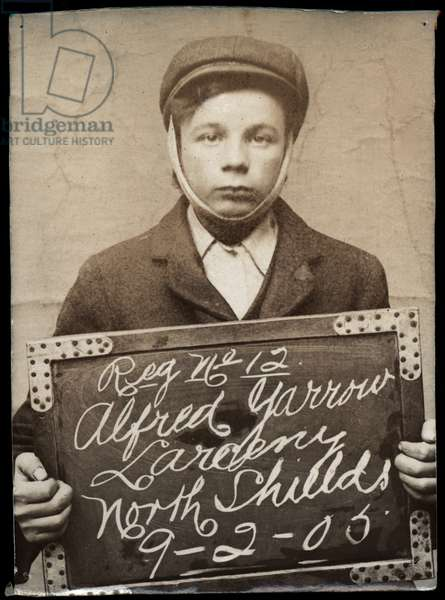 Alfred Yarrow, arrested for stealing from his mother, North Shields, UK, 1905 (b/w photo)
