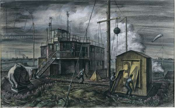 The Watch Office, RAF Station (pastel on paper, pasted on card)