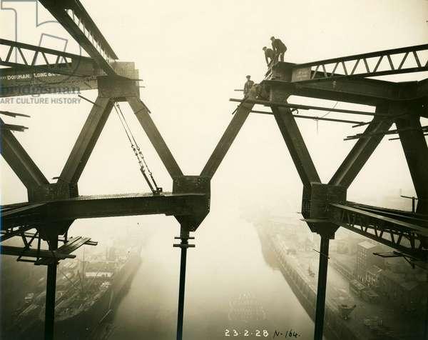 The Tyne Bridge under construction, 23rd February 1928 (b/w photo)