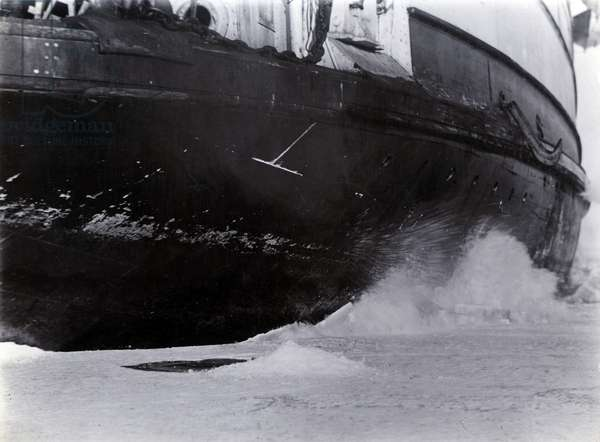 Detail of the hull of the ice-breaking train ferry steamer 'SS Baikal', Lake Baikal (b/w photo)