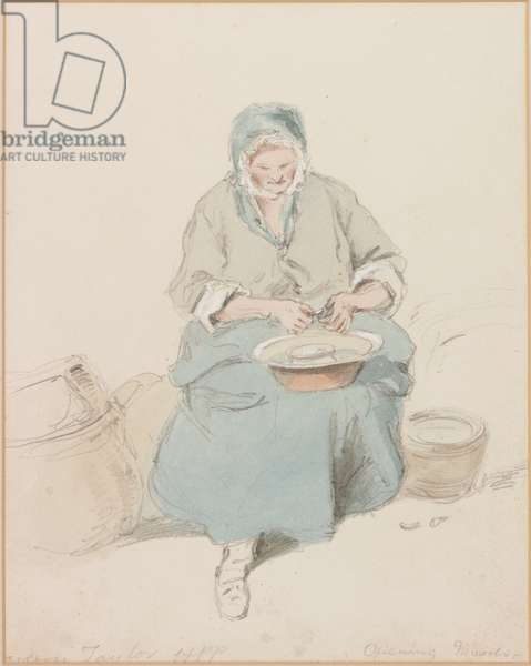 Mrs Taylor Opening Mussels (b/c, pencil & w/c on paper)
