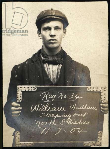William Wadham, arrested for sleeping rough, North Shields, UK, 1904 (b/w photo)