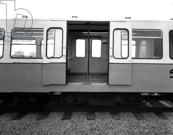 A prototype rail car being tested on the Birmingham test track, UK, 1975 (b/w photo)