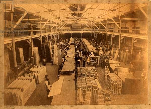 Construction of the interior of the RMS Mauretania (sepia print)