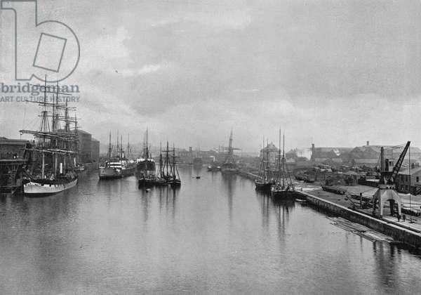Coal staithes at Hudson Dock North, Sunderland, UK, c.1898 (b/w photo)