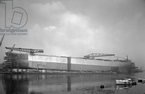 'Naess Crusader' a few days before her launch, Sunderland, UK, 1972 (b/w photo)