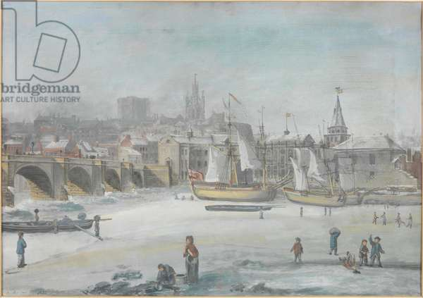 The Tyne Bridge - The Great Frost, 1784 (bodycolour on paper, on canvas)