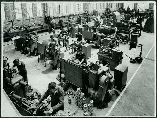 Doxford Engine Works Brassfinishing Department, Pallion, August 1954 (b/w photo)