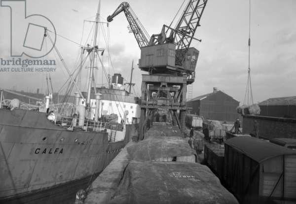 Cargo ship unloading at the South Docks, Sunderland, UK, 1957 (b/w photo)