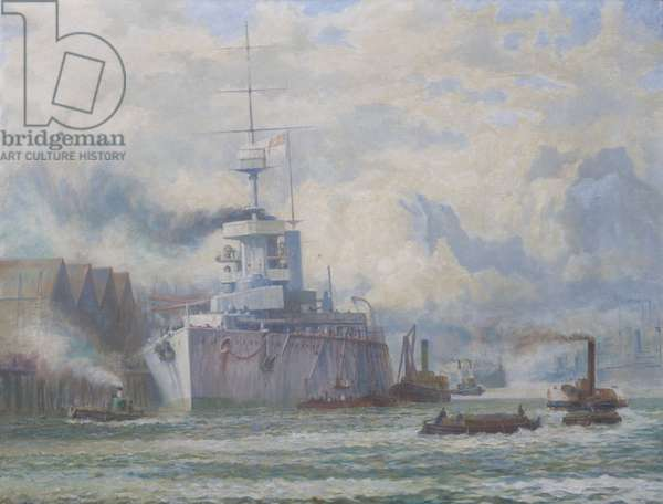 HMS Lion being repaired at Elswick following the Battle of the Dogger Bank (oil on canvas)