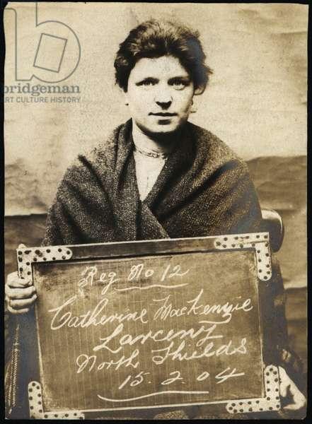 Catherine Mackenzie, arrested for larceny, North Shields, UK, 1904 (b/w photo)