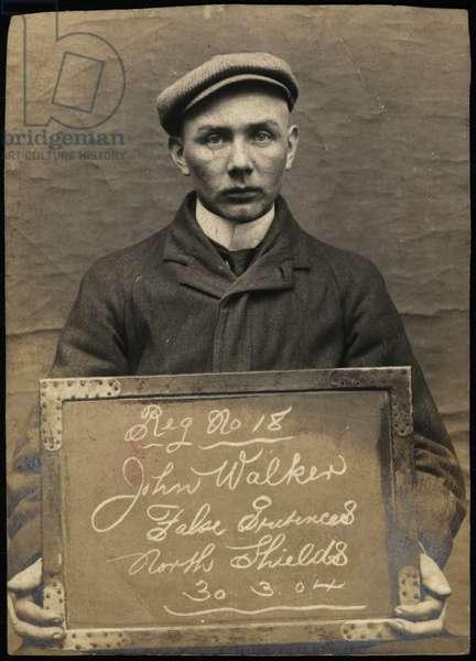 John Walker, arrested for obtaining money by false pretences, North Shields, UK, 1904 (b/w photo)