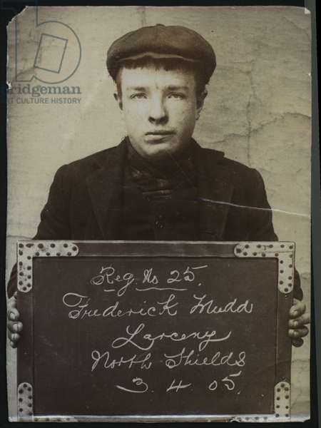 Frederick Mudd, arrested for stealing money, North Shields, UK, 1905 (b/w photo)