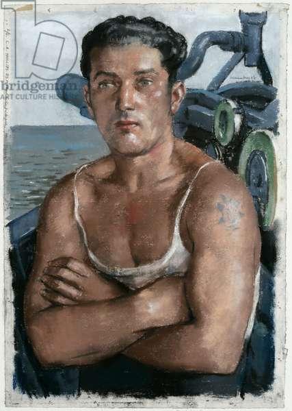 Leading Seaman L.A. Phillips, DSM (pastel & pencil on paper)