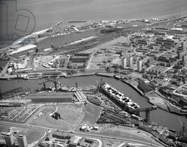 Aerial view of the North Sands shipyard, UK, 1973 (b/w photo)