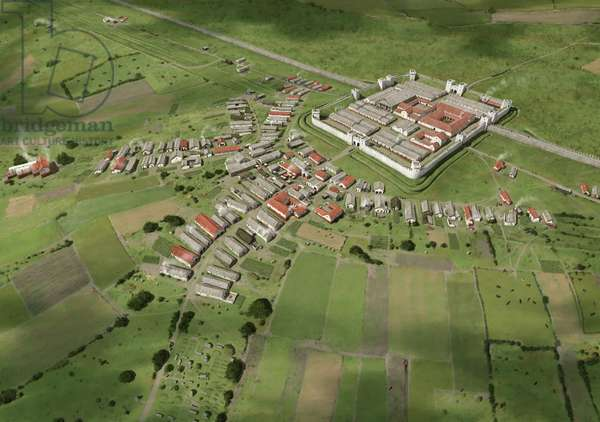 Reconstruction of Benwell fort and vicus in the third century AD, 2015 (digital)