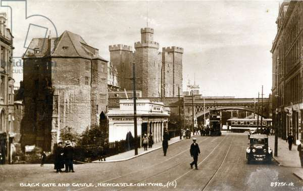 Postcard of the Black Gate and the Castle Keep, St Nicholas Street, Newcastle upon Tyne, UK, c.1923