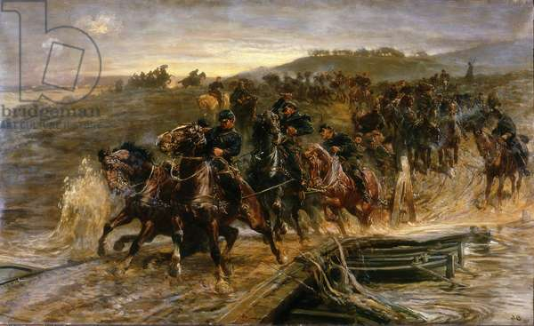 French Artillery Crossing the Flooded Aisne and Saving the Guns, 1915 (oil on canvas)