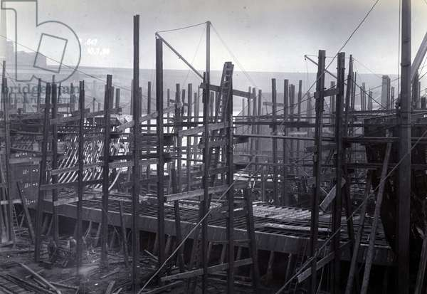 The ice-breaking train ferry steamer 'SS Baikal' in frame during construction by Sir W.G. Armstrong Mitchell and Co. Ltd., at Low Walker shipyard, Newcastle upon Tyne in 1896, Yard No. 647 (b/w photo)
