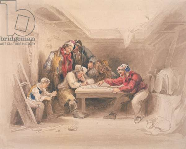 Smugglers Playing Draughts (b/c, pencil & w/c on paper)