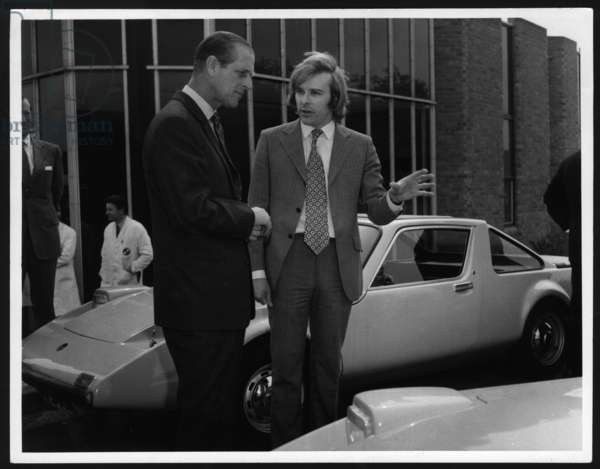 Prince Philip visiting the Clan Motor Company in Washington, UK, 1972 (b/w photo)