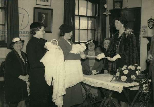 Coronation babies, UK, 1937 (b/w photo)