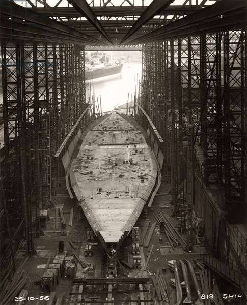 Work on the side frames of the 'Northbank' is underway at the shipyard of William Doxford & Sons, Sunderland, 25th October 1956 (b/w photo)