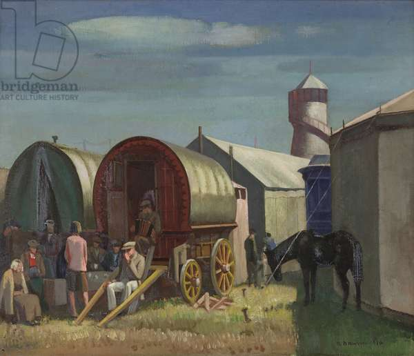 Caravans, Figures and Helter-Skelter, 1930 (oil on canvas)