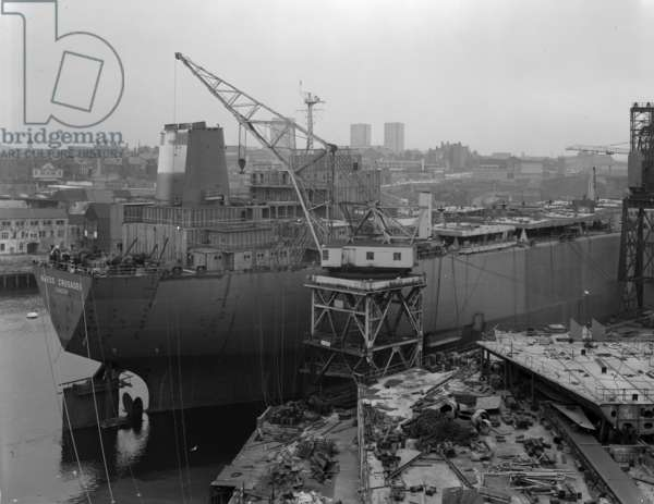 'Naess Crusader' being fitted out at Manor Quay, Sundeland, UK, 1973 (b/w photo)