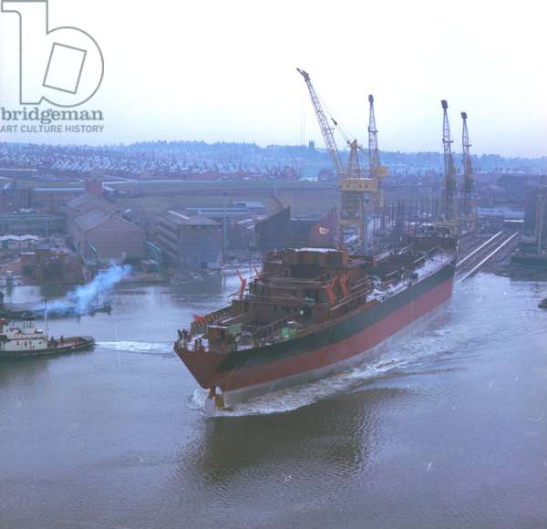 View of 'Nicola', the first SD14, as she is launched at the Southwick shipyard, Sunderland, 29 December 1967 (colour photo)