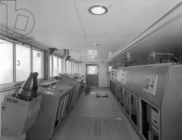 View inside bridge on 'Naess Crusader', 1973 (b/w photo)