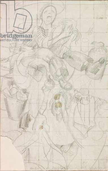 Study for the Dustman or the Lovers (pencil on paper)