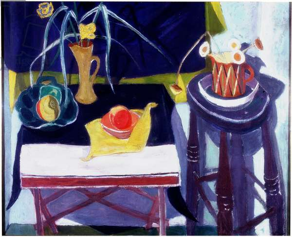 Still Life with Yellow Flowers (oil on canvas)