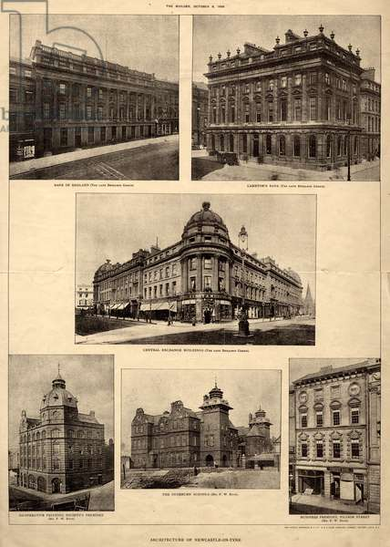 The Architecture of Newcastle-on-Tyne, from 'The Builder', 8th October, 1898 (photolithographic print)