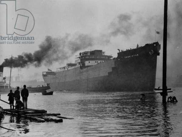 Launch of the cargo ship 'Turkistan', South Shields, UK, 1938 (b/w photo)