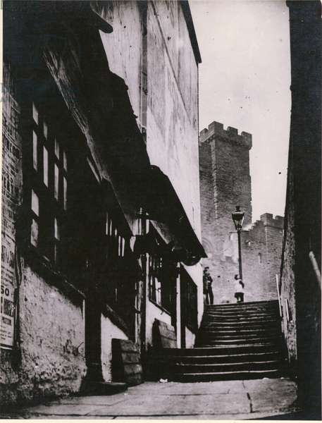 View of the Castle Garth stairs looking towards the Castle Keep, Newcastle upon Tyne, UK, 1881 (b/w photo)