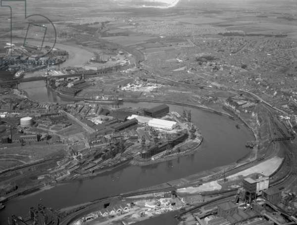 Aerial view of the River Wear, Sunderland, UK, 1959 (b/w photo)