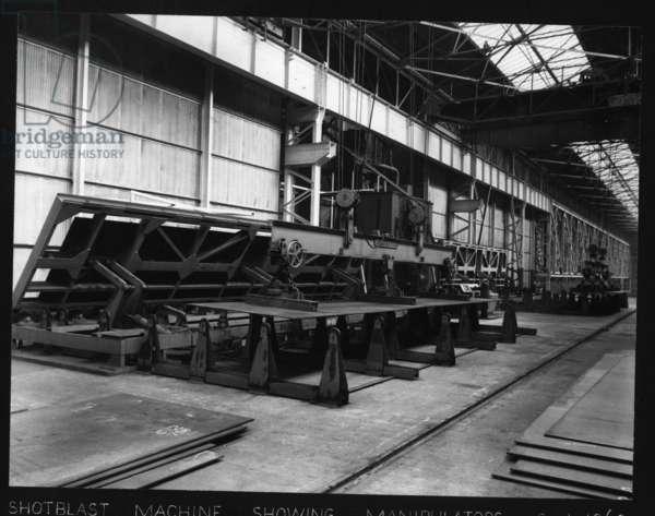 Shotblast machine showing manipulators, Hawthorn Leslie Yard, Hebburn, UK, September 1960 (b/w photo)