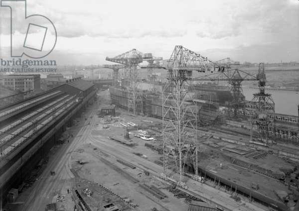 General view of the Walker Naval Yard, Newcastle, UK, 1962 (b/w photo)