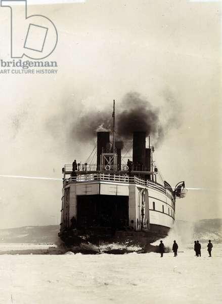 The ice-breaking train ferry steamer 'SS Baikal', Yard No. 647, Lake Baikal (b/w photo)