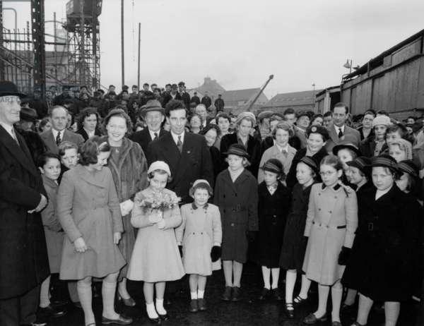 Launch party of the bulk carrier 'Gloxinia', South Shields, UK, 1958 (b/w photo)